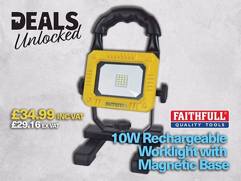 Faithfull 10W Rechargeable Worklight with Magnetic Base Excluding VAT