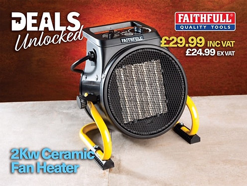 Faithfull Tools 2kw Ceramic Fan Heater Excluding VAT
