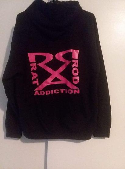 Black Hoodie with Pink Logo