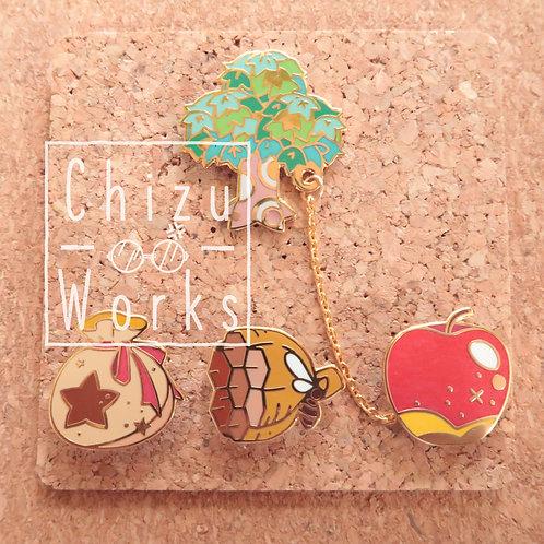 Animal Crossing Tree Chain Enamel Pin SET