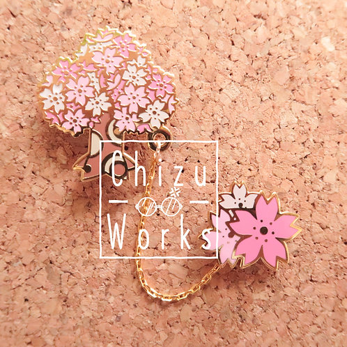 Animal Crossing Sakura Tree Chain Enamel Pin