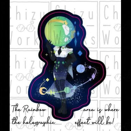 Holo Galactic Pretty Girl Sticker