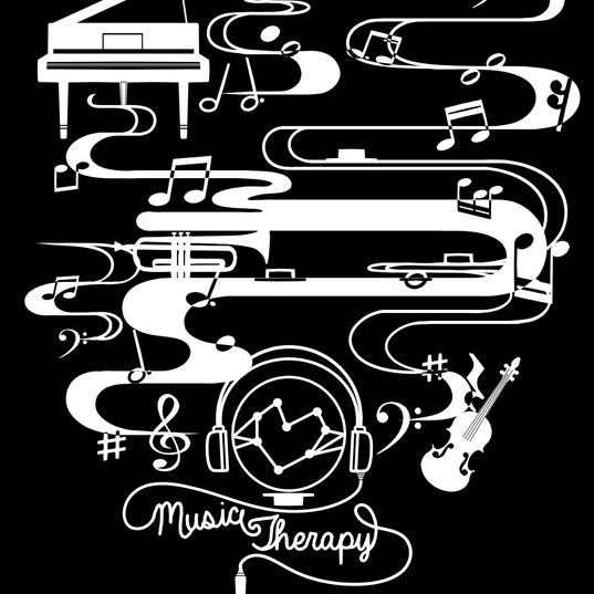 Commission T Shirt Design: Music Therapy Black and White