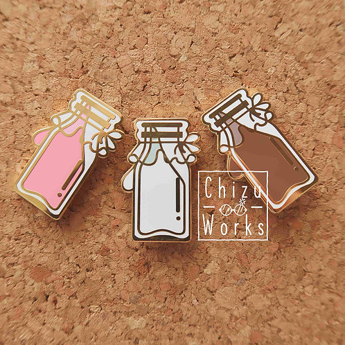 100% Milk Enamel Pin