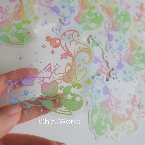 Clear Rainbow Koi Fish Sticker