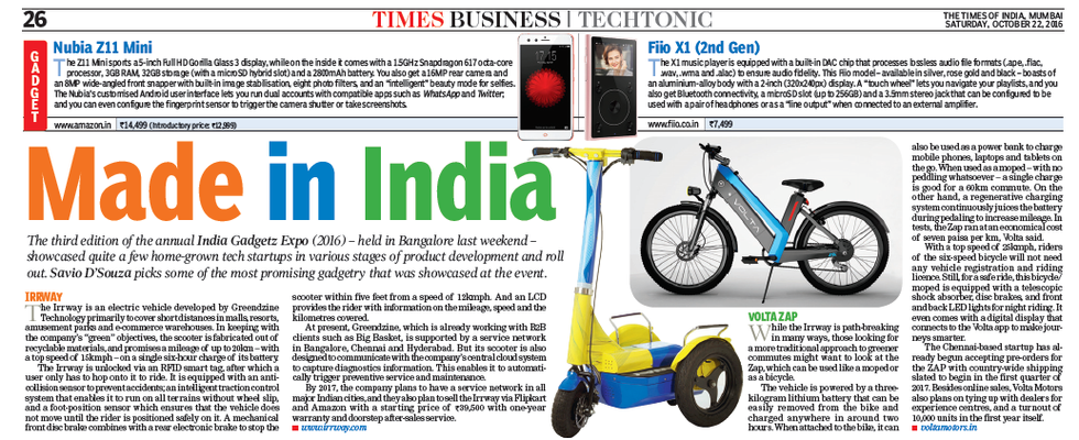 TIMES OF INDIA - ARTICLE