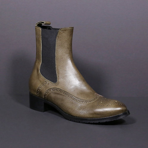 chelsea boots green (leather)
