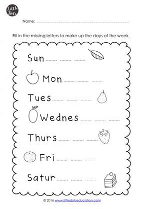 Free days of the week worksheets for kindergarten