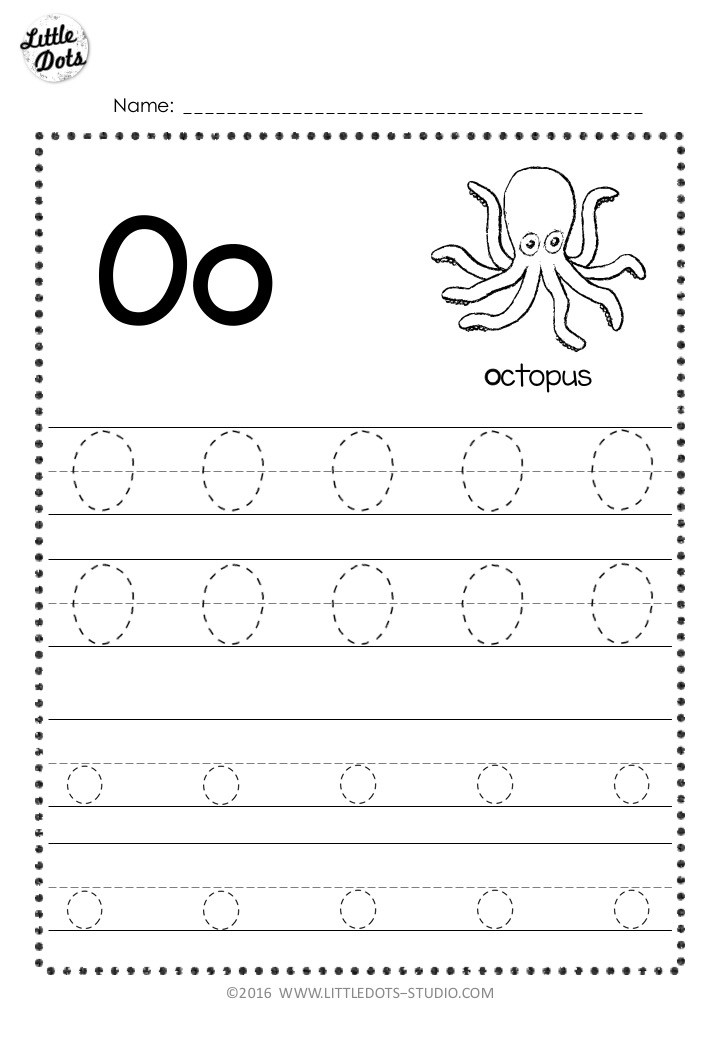 Free letter o tracing worksheet with line
