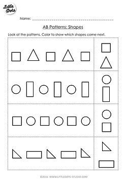Free AB patterns worksheet on shapes for pre-k