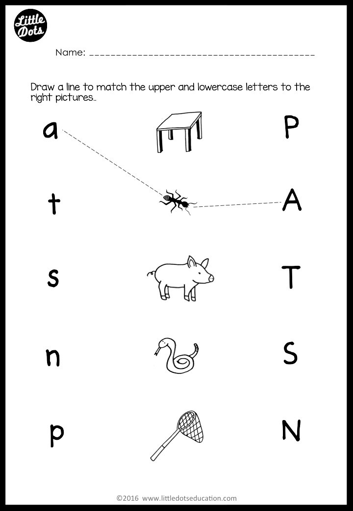 Uppercase and lowercase letters matching worksheet for preschool or kindergarten class