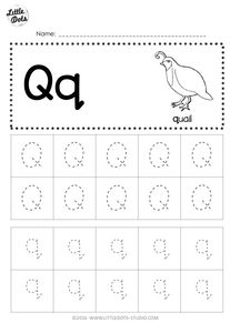 Free Letter Q Tracing Worksheets on tracing printables, tracing snowflakes, tracing heart, tracing stars, tracing coloring pages, tracing shapes, tracing fall, tracing animals, tracing art, tracing bunnies, tracing letter r, tracing worksheets, tracing fish,