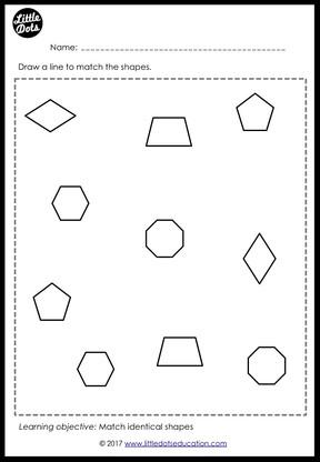 preschool shapes matching worksheets and activities little dots education preschool. Black Bedroom Furniture Sets. Home Design Ideas