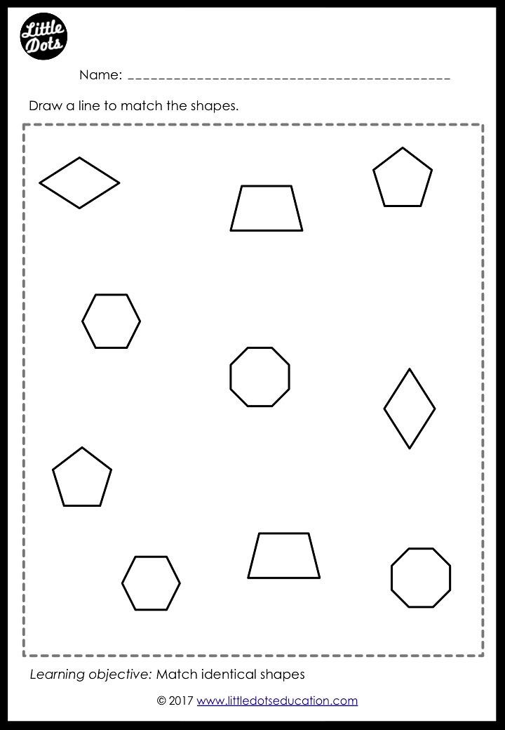 Shapes matching worksheet for preschool, pre-k or kindergarten class. Practice to match diamond, pentagon, hexagon, octagon and trapezium.