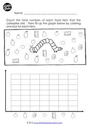 Download free The Very Hungry Caterpillar graphing worksheet. Practice to count and create a graph.