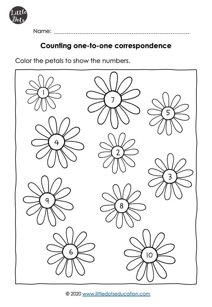 Free preschool math counting worksheets, free preschool flower theme math counting worksheets