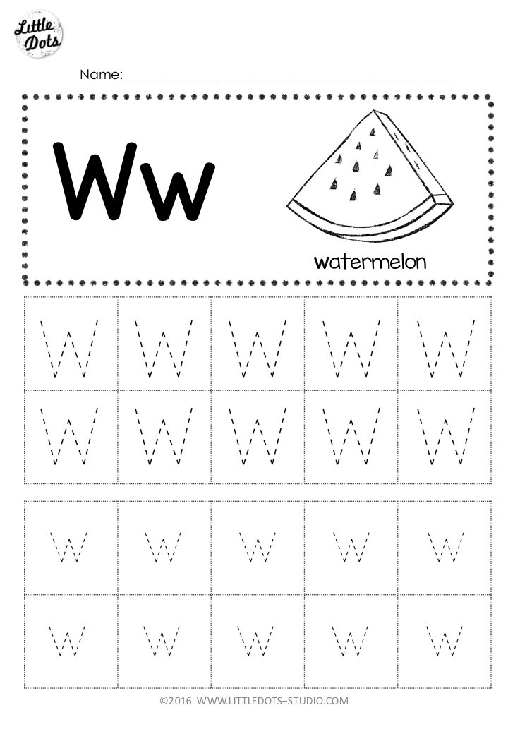 Free letter w tracing worksheet