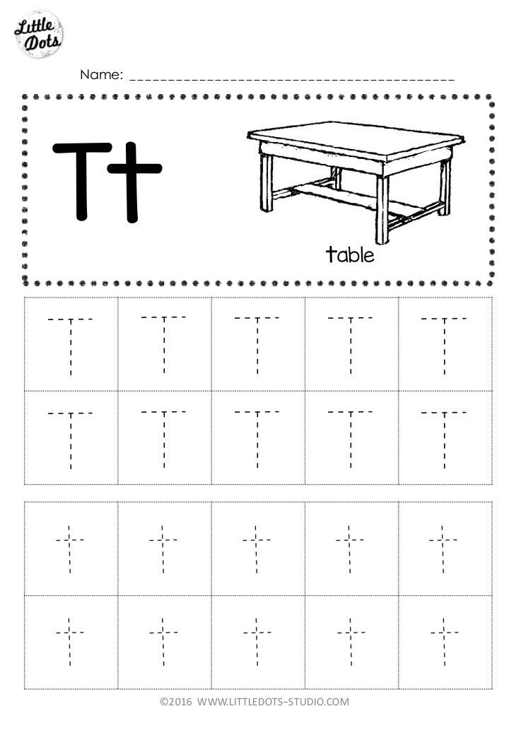 Free letter t tracing worksheet