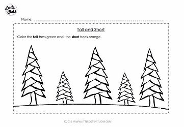 Free Pre-K measurement worksheet on tall and short