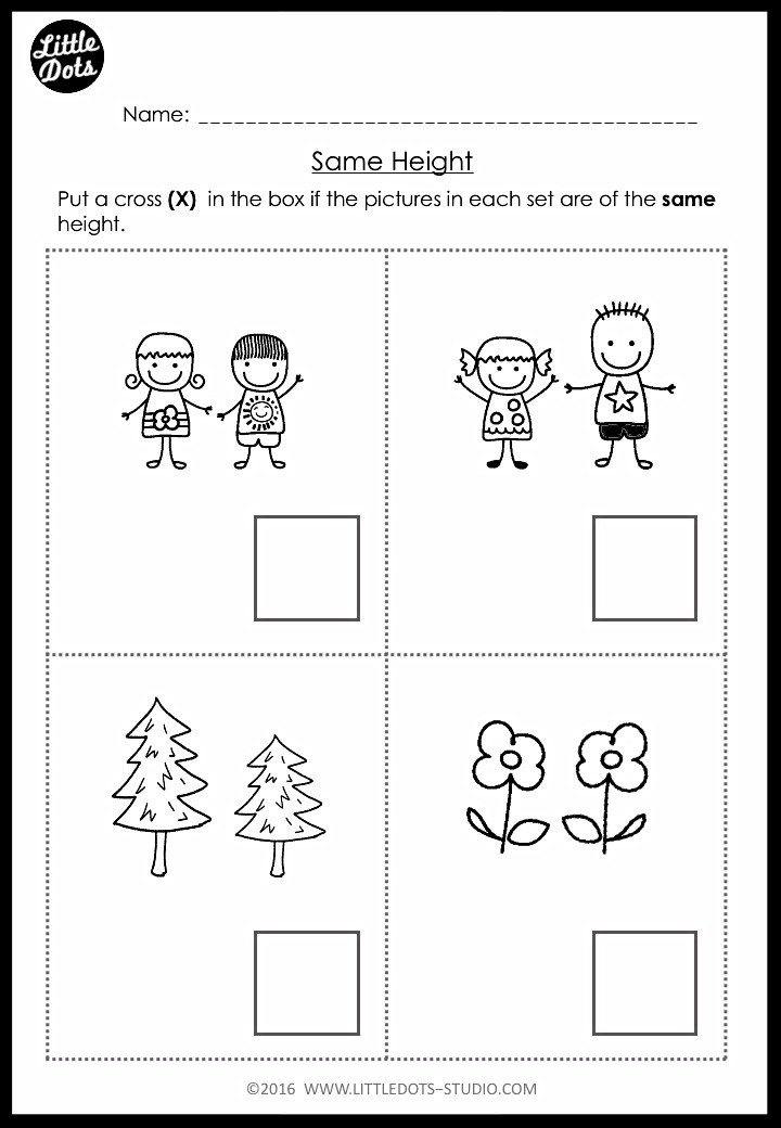 pre-k same height worksheet