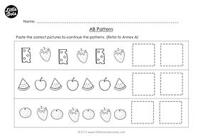 The Very Hungry Caterpillar patterning worksheet. Practice to continue AB patterns.