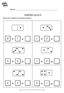Free addition worksheet suitable for kindergarten or grade 1 level. Practice solve addition equations with the help of domino tiles.