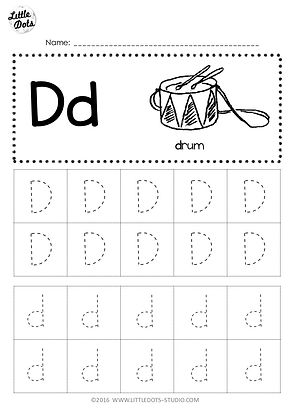 Free Letter D Tracing Worksheets | Little Dots Education