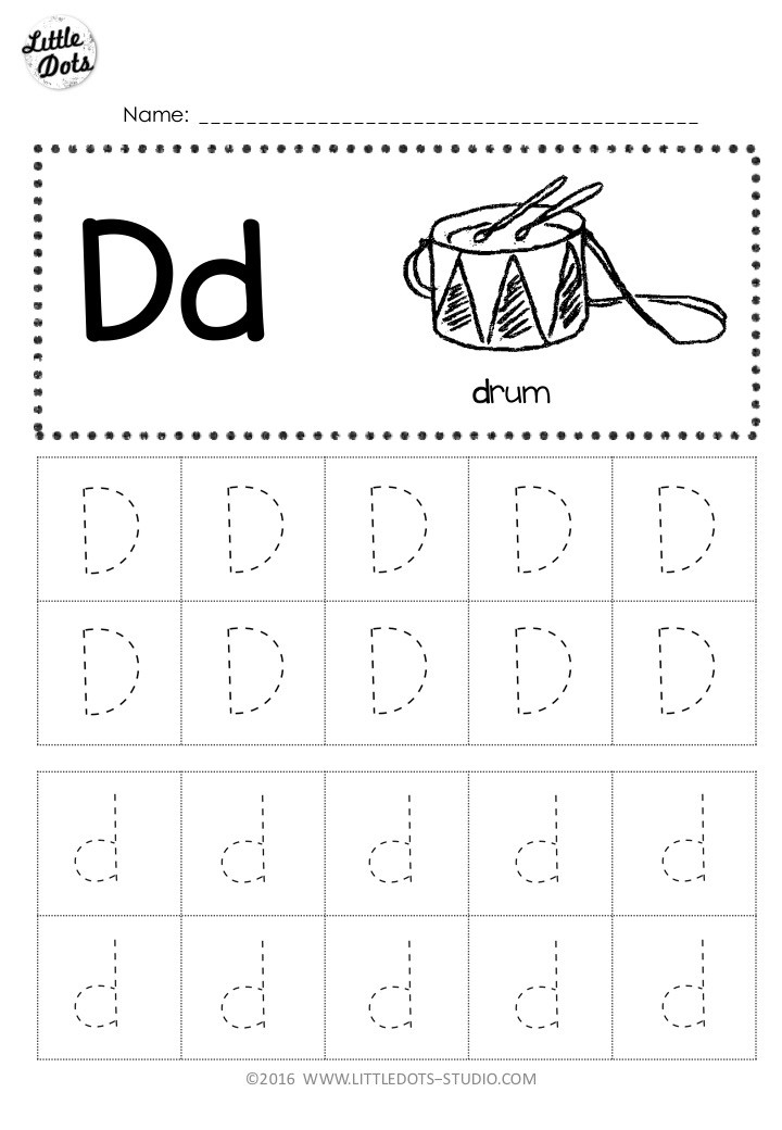 Free Letter D Tracing activity