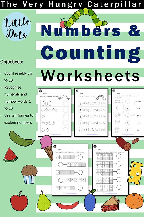The Very Hungry Caterpillar Counting Worksheets