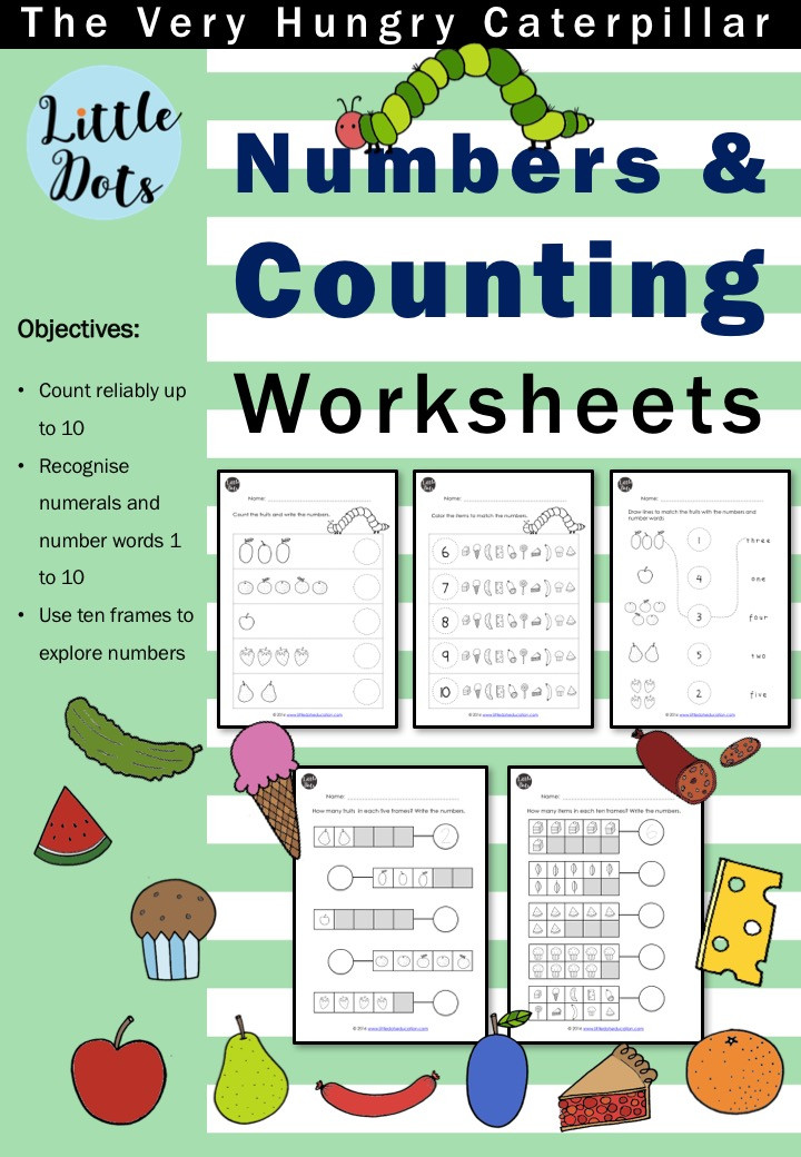 The Very Hungry Caterpillar Theme Numbers and Counting Worksheets