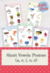 Free short vowels a, e, i, o, u printable posters for preschool or kindergarten class.