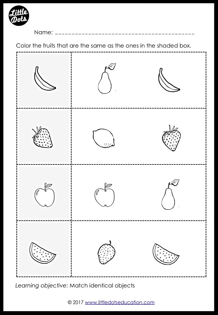 Fruits matching worksheet for preschool or pre-k class. Matching identical objects worksheet for preschool.