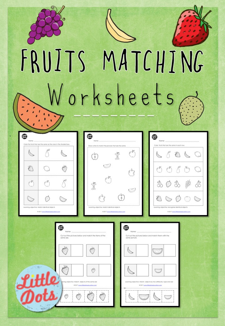 Fruits matching worksheets for preschool, pre-k or kindergarten class. Match identical objects worksheets.