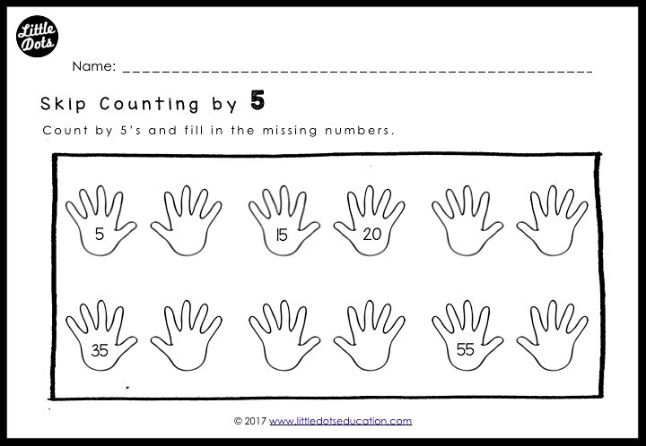Free skip counting by 5 worksheet