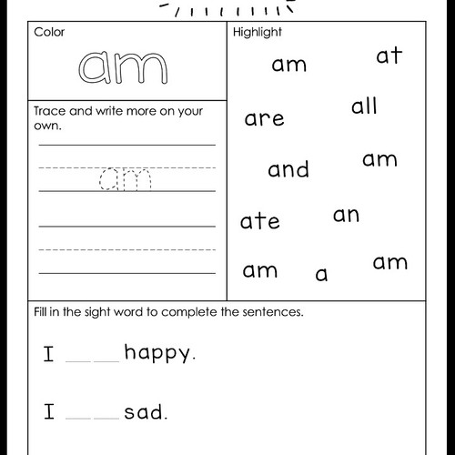 Literacy store little dots education dolch sight words primer level activities dolch sight word am worksheet ibookread PDF