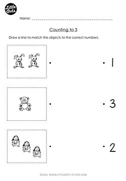 Free Pre-K counting worksheet. Practice counting one to one correspondence with this number matching worksheet.