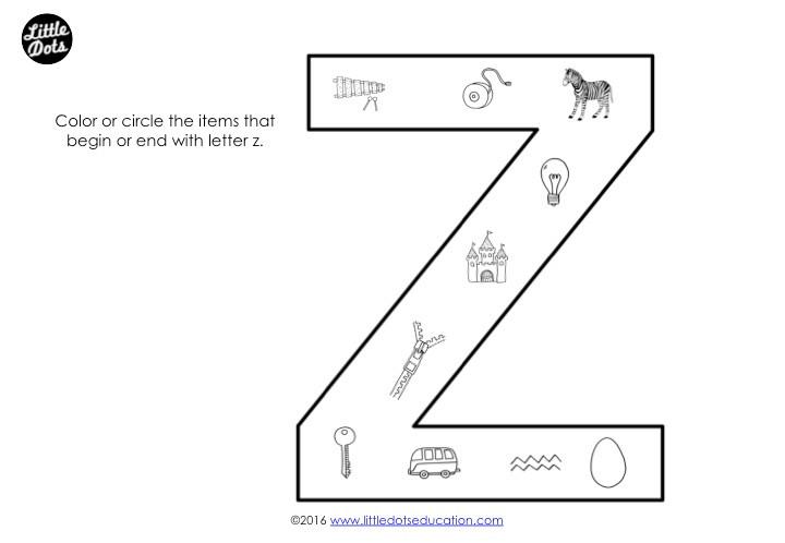 Letter Z Sound Worksheet
