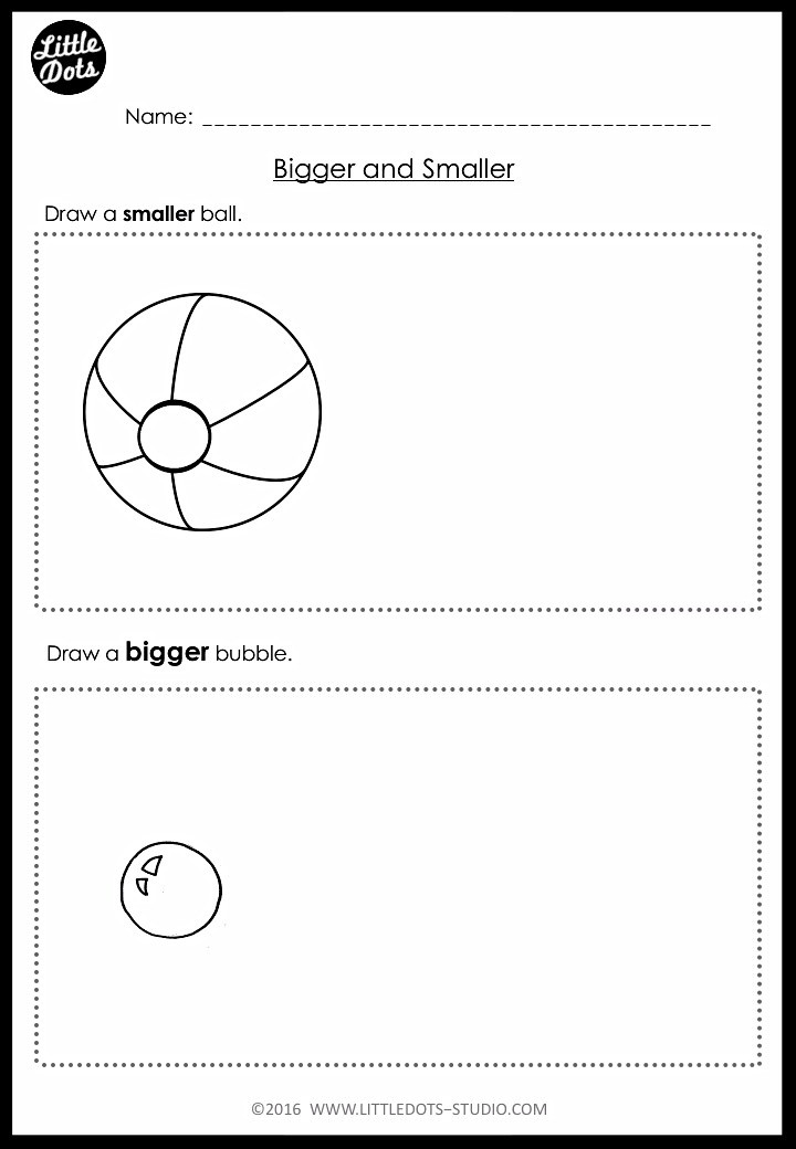 Bigger and smaller worksheet for pre-k