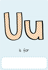 Make your own letter u book with this letter u book cover template.