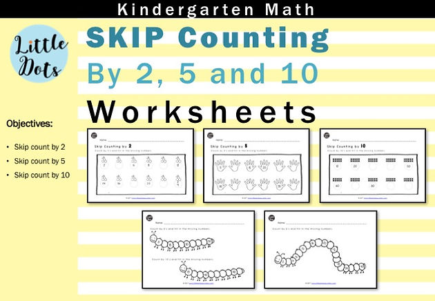 skip count by 2 5 and 10 worksheets for kindergarten to grade 1 little dots education. Black Bedroom Furniture Sets. Home Design Ideas