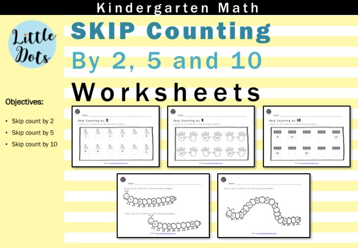 Skip Counting by 2, 5 and 10 worksheets set