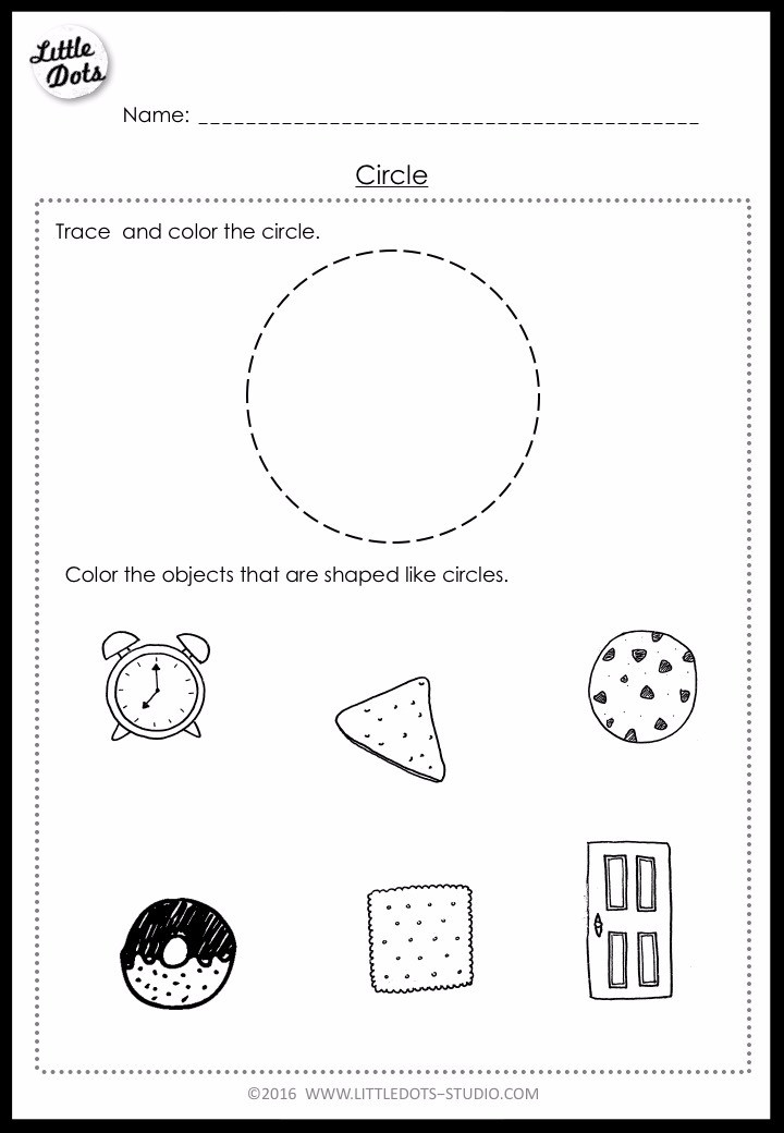 Pre-K circle shape worksheet