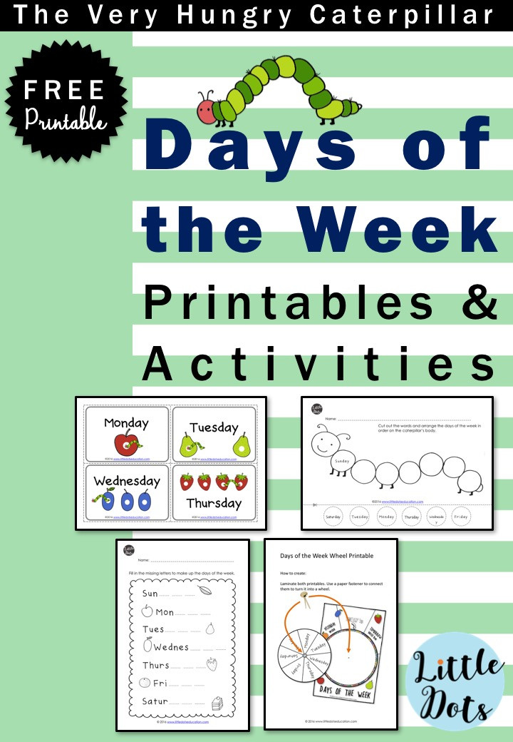 The Very Hungry Caterpillar free days of the week printable and activities