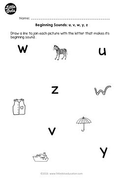 Free beginning sounds worksheets for letters u, v, w, x, y and z