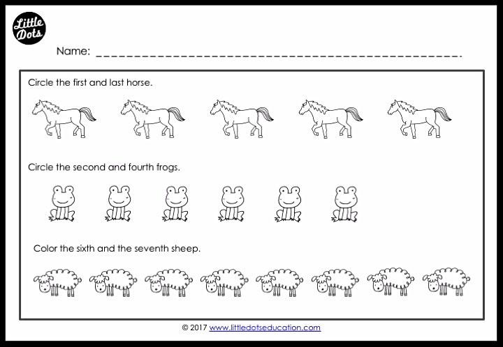 Free ordinal numbers printable for preschool, pre-k and kindergarten.