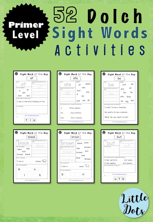 dolch sight words primer level activities