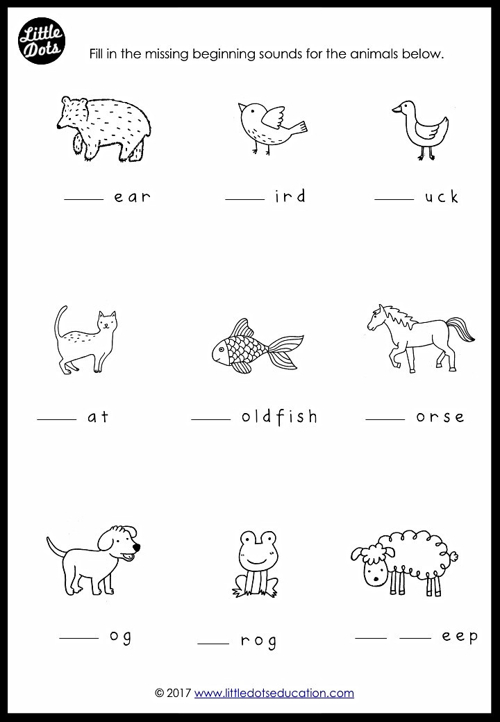 Brown Bear, Brown Bear What Do You See? Theme Free Beginning Sounds Worksheet