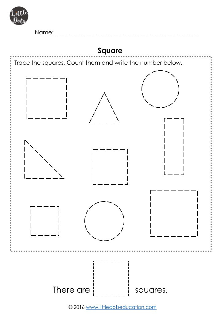 Free square shape worksheet for pre-k