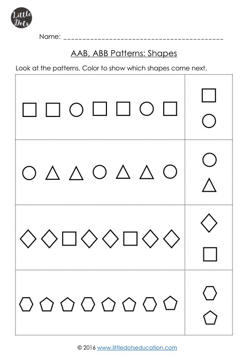 Aab Abb Patterns Worksheets For Kindergarten  Little Dots