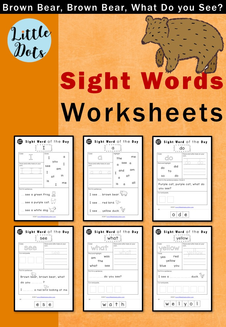 Brown Bear, Brown Bear, What Do You See? Sight Words Worksheets Set for Kindergarten